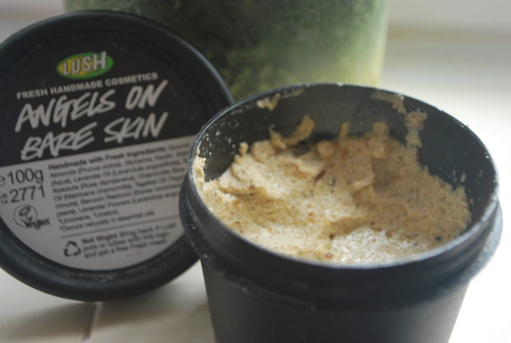 tub of lush angels on bare skin cleanser