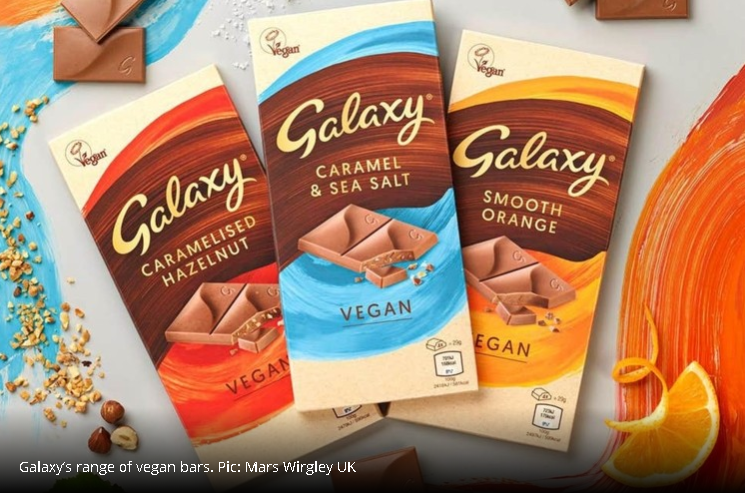three bars of vegan galaxy for review and taste test