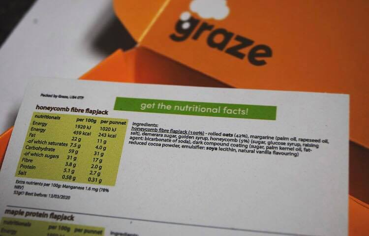 nutritional information graze subscription boxes
