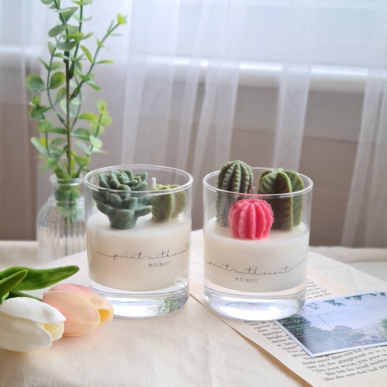 cactus candle from etsy seller in my mother's day gift guide