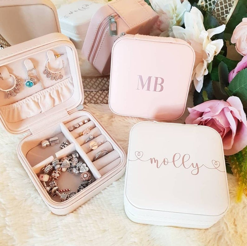 pink personalised jewelerry box from etsy